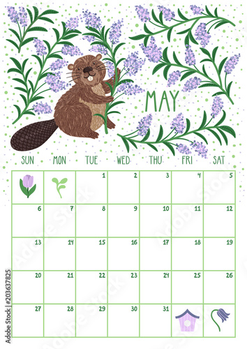 Vector monthly calendar with cute beaver May 2018 Planning design