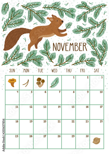 Vector monthly calendar with cute squirrel November 2018 Planning