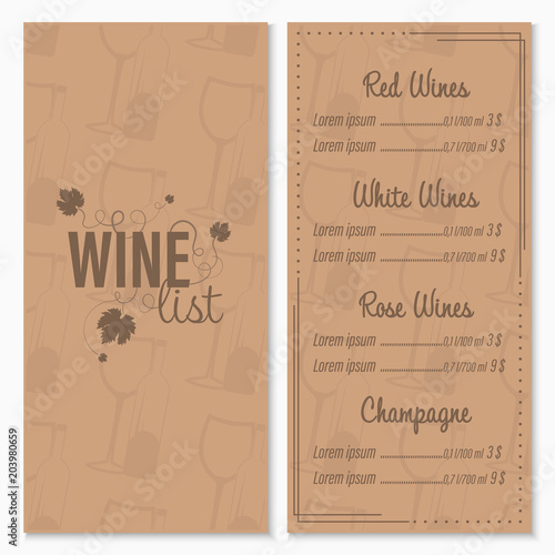 Wine list menu card design template with glasses and bottle of wine