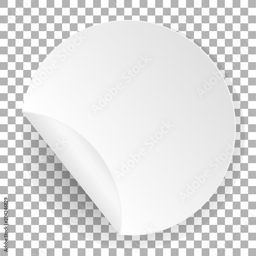 Round paper sticker White label template with bent edge with shadow