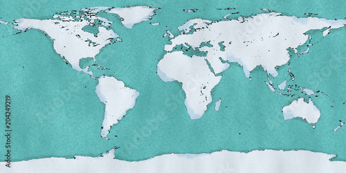 Cartina mondo, disegnata illustrata pennellate, cartina geografica - cartina mondo