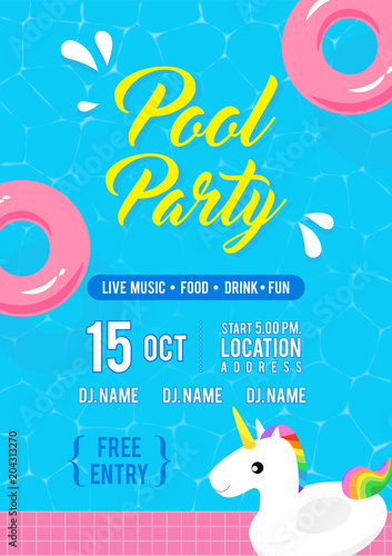 Pool party invitation flyer vector illustration, Top view of