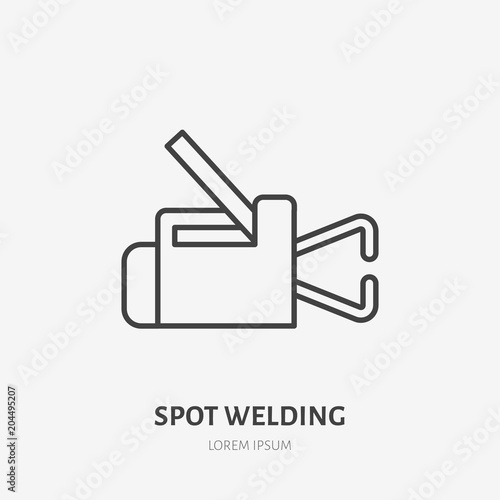 Spot welding equipment flat line icon Metal works sign Thin linear