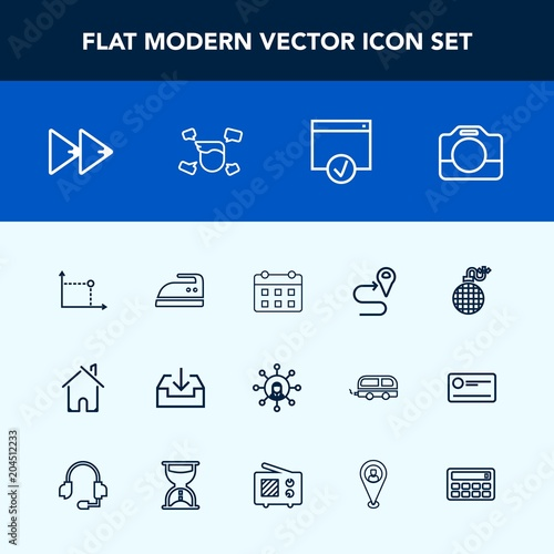 Modern, simple vector icon set with estate, player, display, audio
