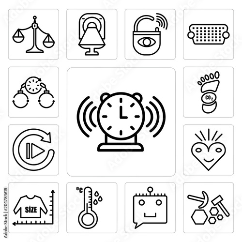 Set of buzzer, quarry, chat bot, temperature sensor, size chart