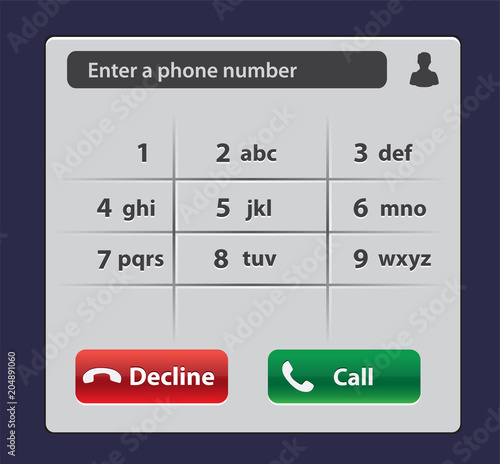 Keypad with numbers and letters for phone User interface keypad for
