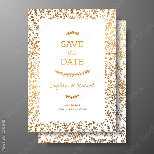 Wedding vintage invitation,save the date card with golden twigs and