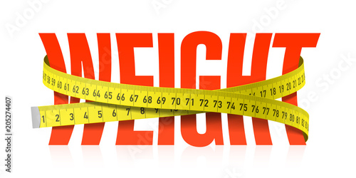 Weight word with measuring tape, diet theme\