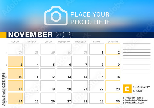 Calendar for November 2019 Vector Design Print Template with Place
