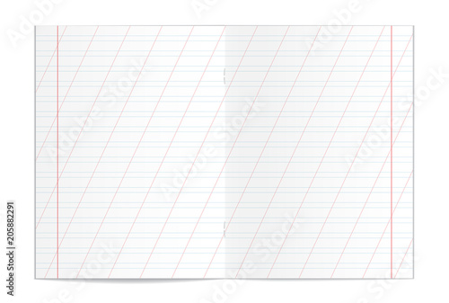 Vector illustration of realistic writing practice copybook spread - lined pages for writing