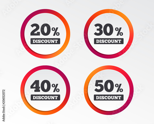Sale discount icons Special offer price signs 20, 30, 40 and 50