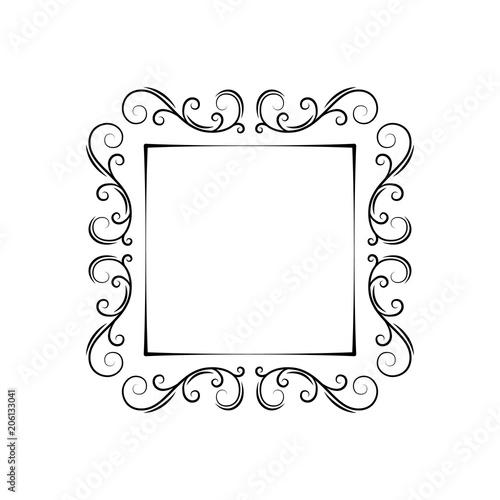 Ornamental filigree frame Vintage decorative design elemet Swirls