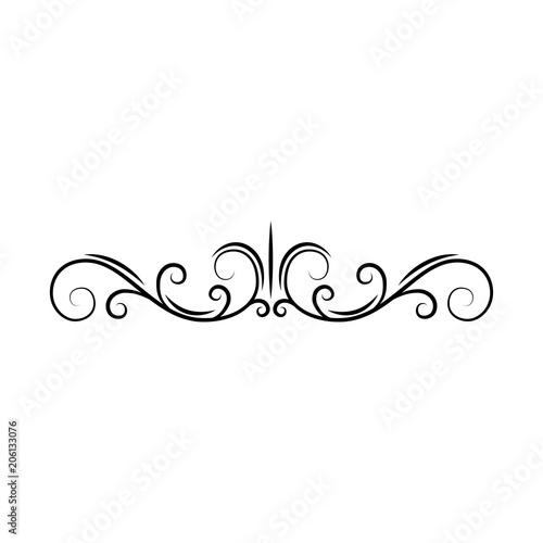 Flourish page divider Decorative scroll page border Swirls, curls