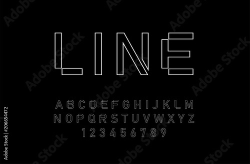 modern alphabet thin line fonts and numbers designs for logo