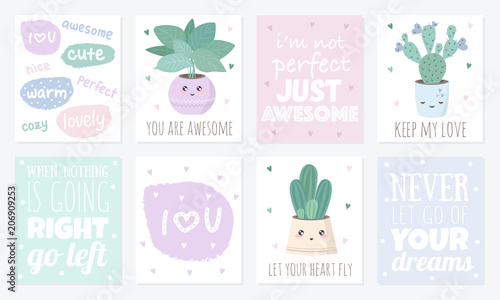 Vector set of cute postcards with house plants\