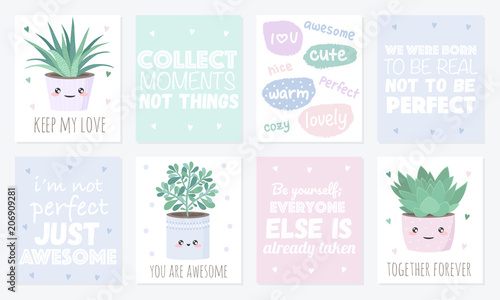 Vector set of cute postcards with house plants and text\