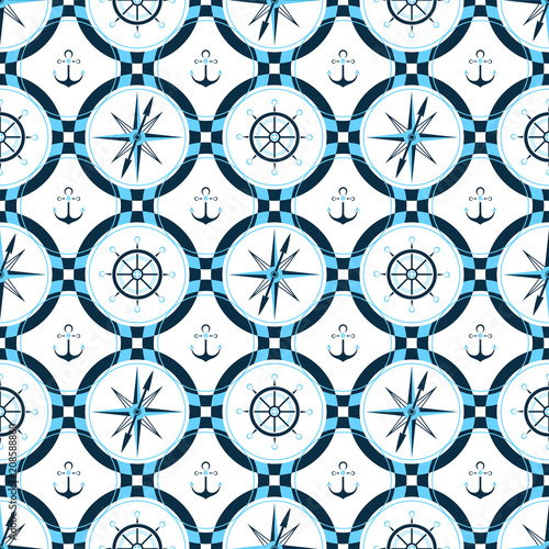 Ship anchor, steering wheel, compass Design of packing paper