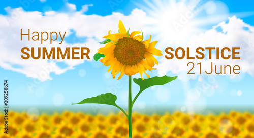 Vector illustration on the theme of the summer solstice Sunny