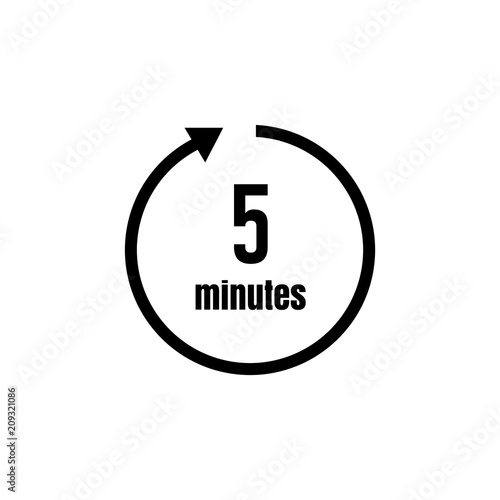 Clock , timer (time passage) icon / 5 minutes\