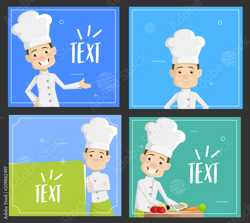 Cartoon Chef templates background Flat Vector Illustration Design