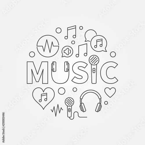 Word Music with line icons in circle shape Vector illustration