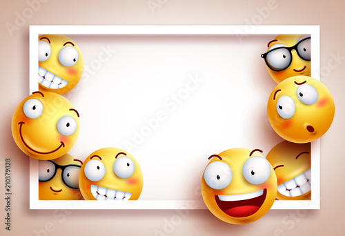 Smileys background vector template with white boarder frame and