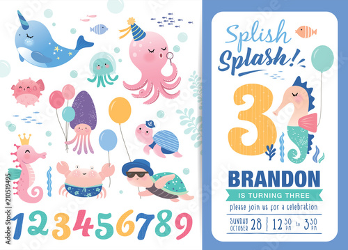 Birthday party invitation card template with cute marine life