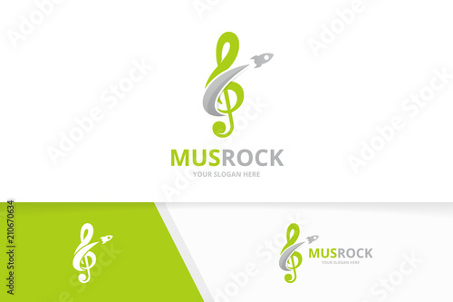 Vector treble clef and rocket logo combination Music and airplane - treble clef template