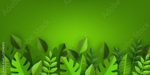 Green leaves frame background template with text space Abstract - green photo frame