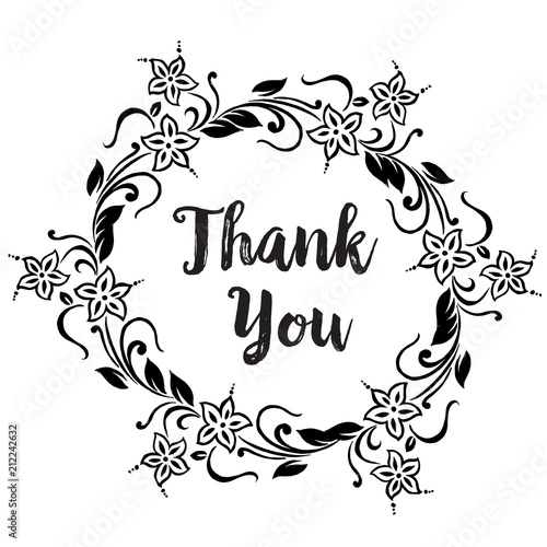 Thank you Cards Template with floral ornament concept Floral poster