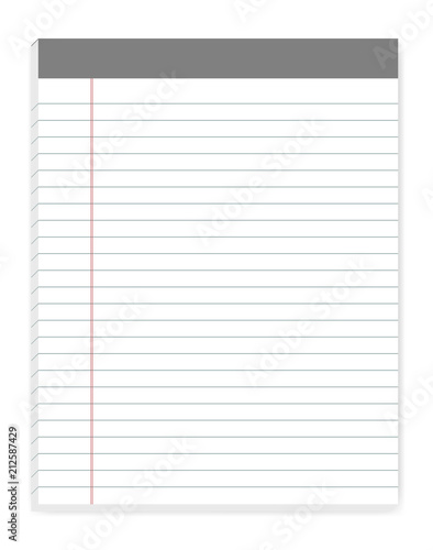 Lined letter format writing pads with margin, vector mock up\