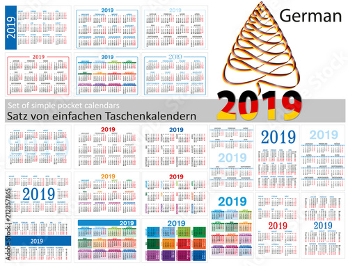 Set of simple calendars in German on 2019 (Two thousand nineteen