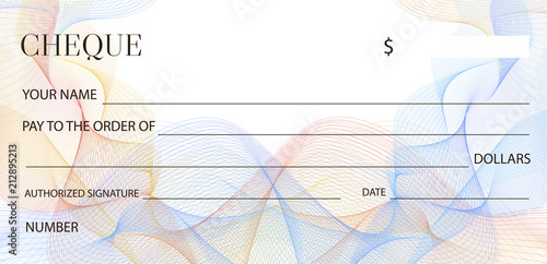 Cheque (Check template), Chequebook template Blank bank cheque with