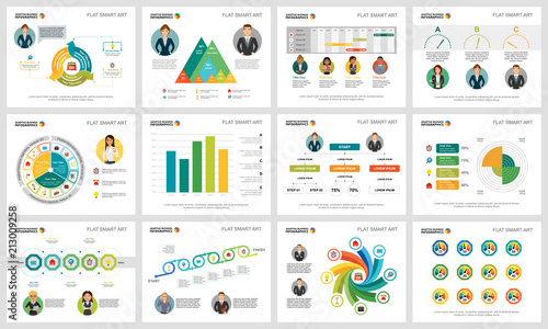 Colorful consulting or banking concept infographic charts set - consulting presentation templates