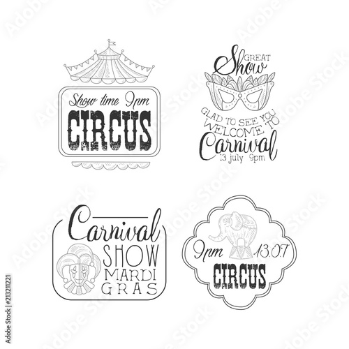 Vector set of circus and Mardi Gras carnival signs Black and white
