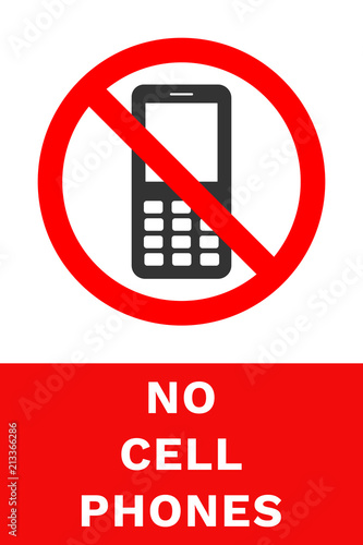 NO CELL PHONES sign Vector\