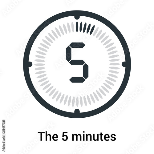 The 5 minutes icon isolated on white background, clock and watch