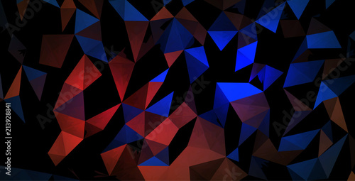 Vector pattern, black background of triangles, lighting blue and red