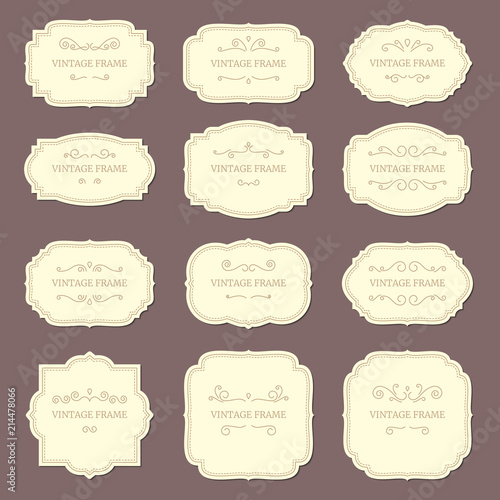 Vintage label frames Old ornamental labels, fashion product tag