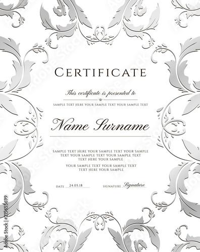 Certificate template, silver border Editable design for Diploma