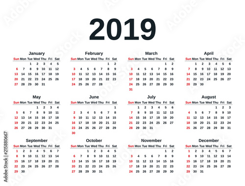Calendar 2019 in simple style Week starts Sunday Vector