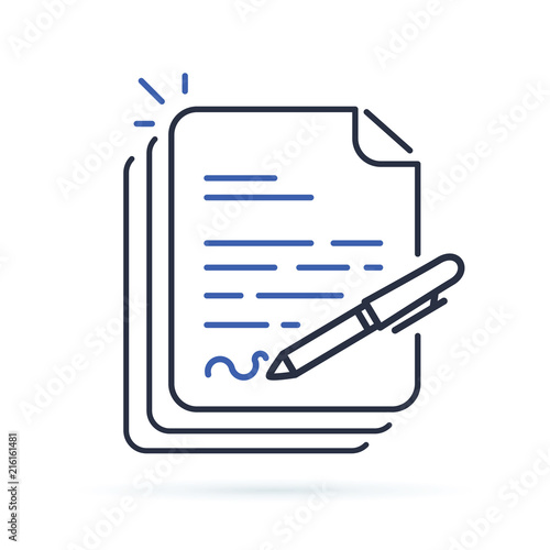 Contract, Document signing Paper documents pile with signature and