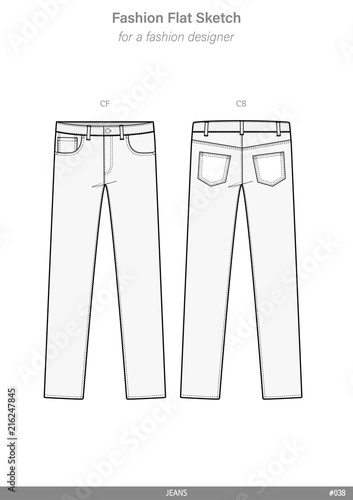 PANTS JEANS Fashion flat technical drawing vector template\