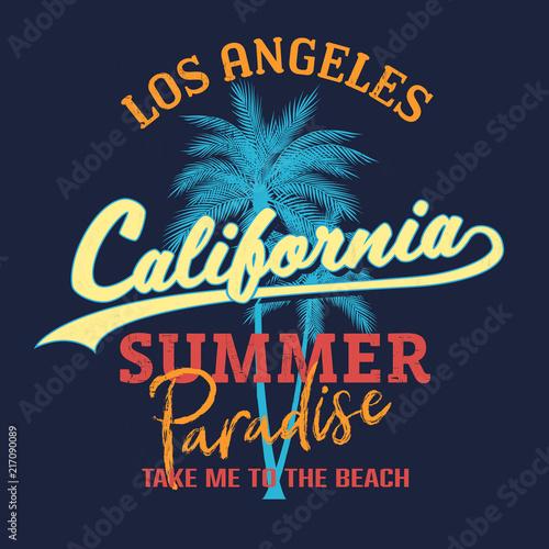 California paradise slogan, Summer beach typography, tee shirt