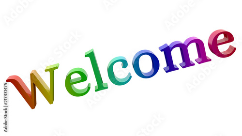 Welcome Word 3D Rendered Text With Fairy Font Illustration Colored