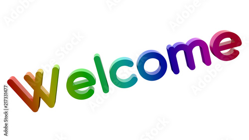 Welcome Word 3D Rendered Text With Round Font Illustration Colored