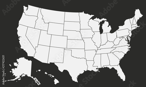 USA Vector map isolated on black background\