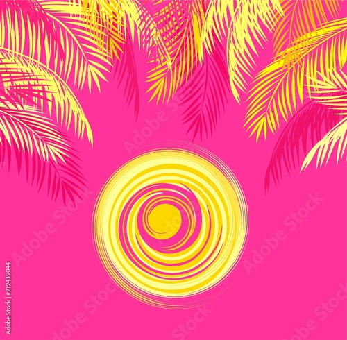 Summery t shirt print with yellow palm leaves and hot sun on pink