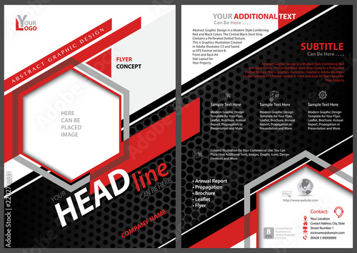Abstract Flyer Template with Black and Red Stripes and Hexagons on