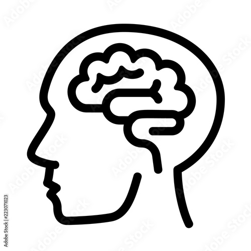 Human think brain icon Outline human think brain vector icon for